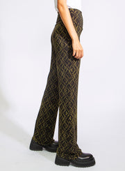 NORMA KAMALI | Boot Pants in Olive Snake Print