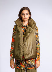 NORMA KAMALI | Sleeveless Sleeping Bag Vest in Olive Green