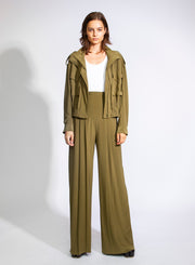 NORMA KAMALI | High Waist Pleated Pants in Green