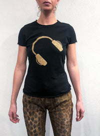 MARINA BONASERA | Graphic T-Shirt 'Headphones in Glitter'