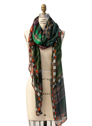 ITALCA OF ITALY | Colorful Printed Green Scarf