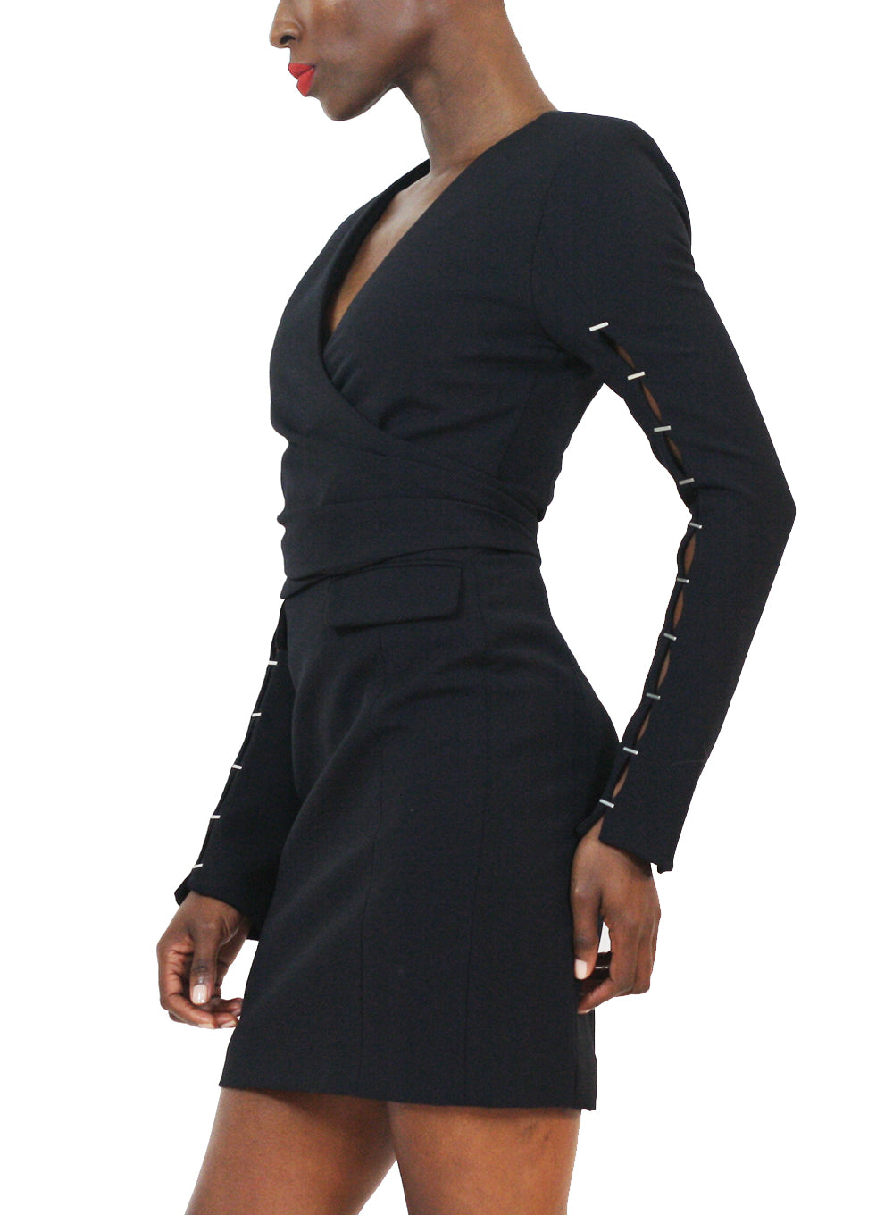 JONATHAN SIMKHAI | Bold-Shoulder Stretch Wrap Dress in Black