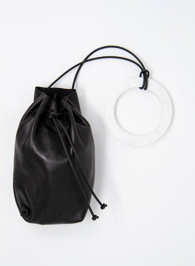 JIL SANDER | Drawstring Leather Mini Pouch Bag in Black