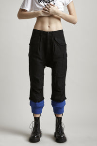 R13 | Harem Utility Cargo Joggers With Sweat Cuff In Black/Blue