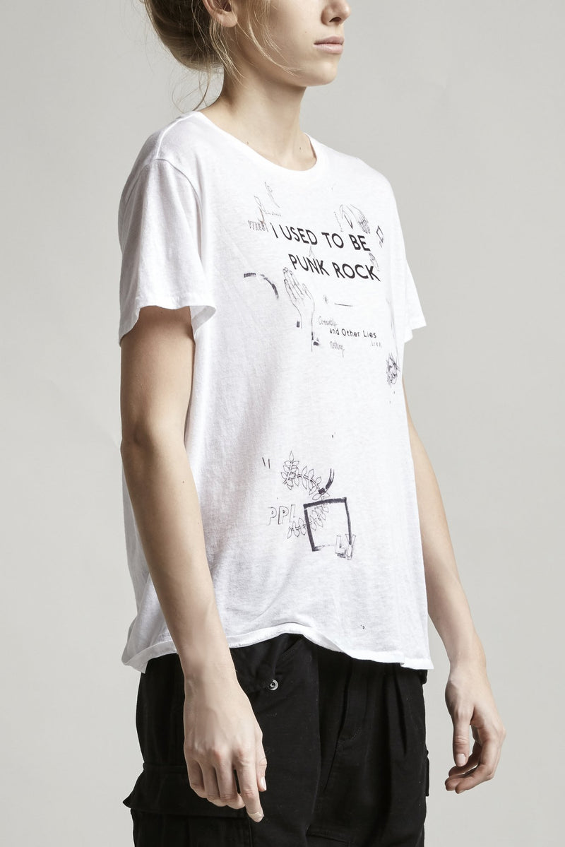 R13 | 'I Used To Be Punk Rock' Distressed Graphic Tee in White