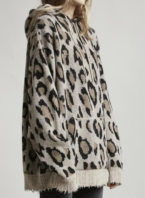 R13 | Leopard Cashmere Oversized Hooded Sweatshirt