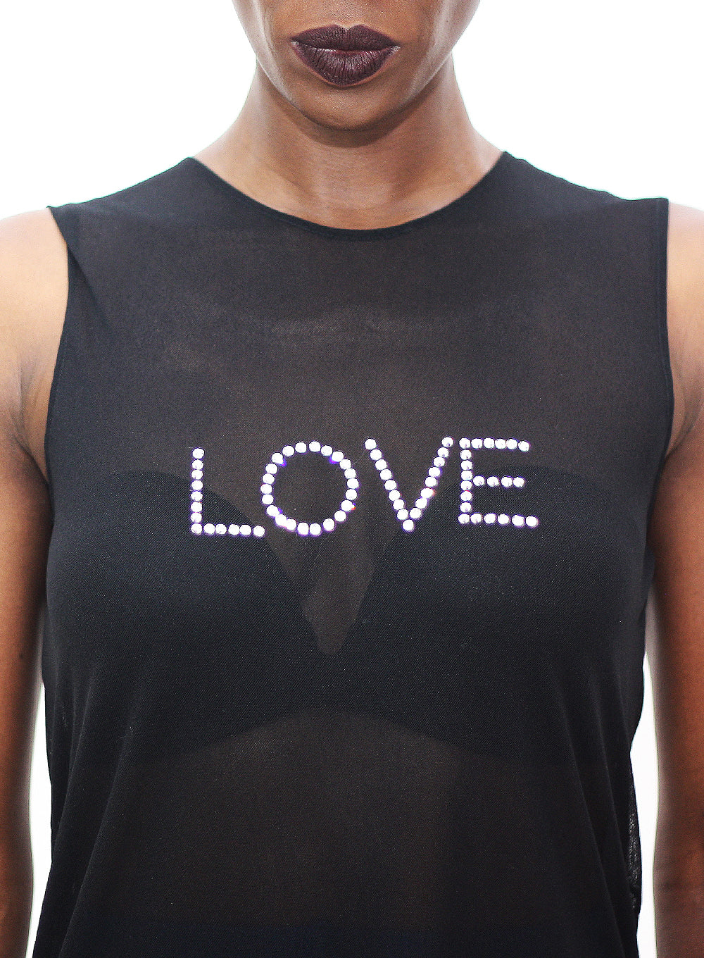NORMA KAMALI | Nylon Mesh Sleeveless U-Neck 'Love' Tank