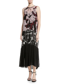 FUZZI | Patchwork Vino-Print Sleeveless Long Dress