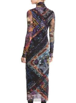 FUZZI | Turtleneck Nero-Print Tulle Midi Dress