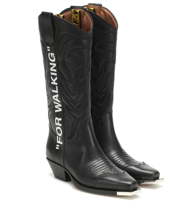 "OFF-WHITE | ""For Walking"" Cowboy Boot, Black/White"