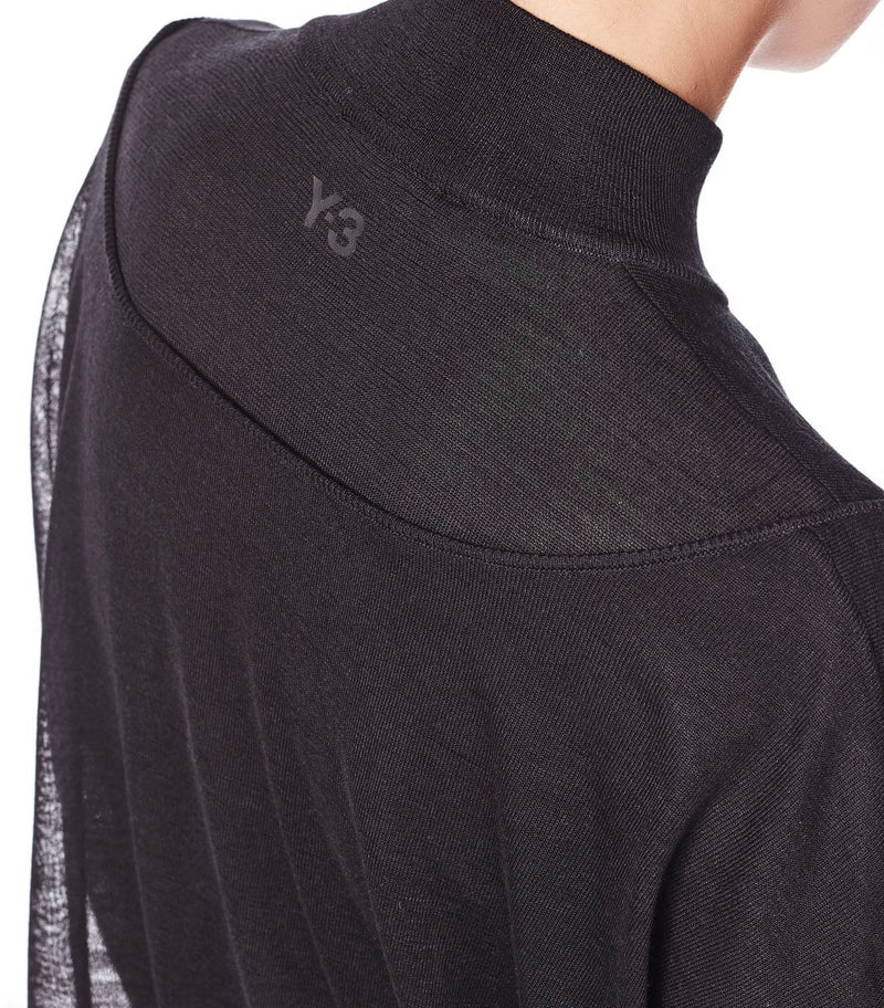 Y-3 | Layered Knit Mesh Crop Sweater in Black