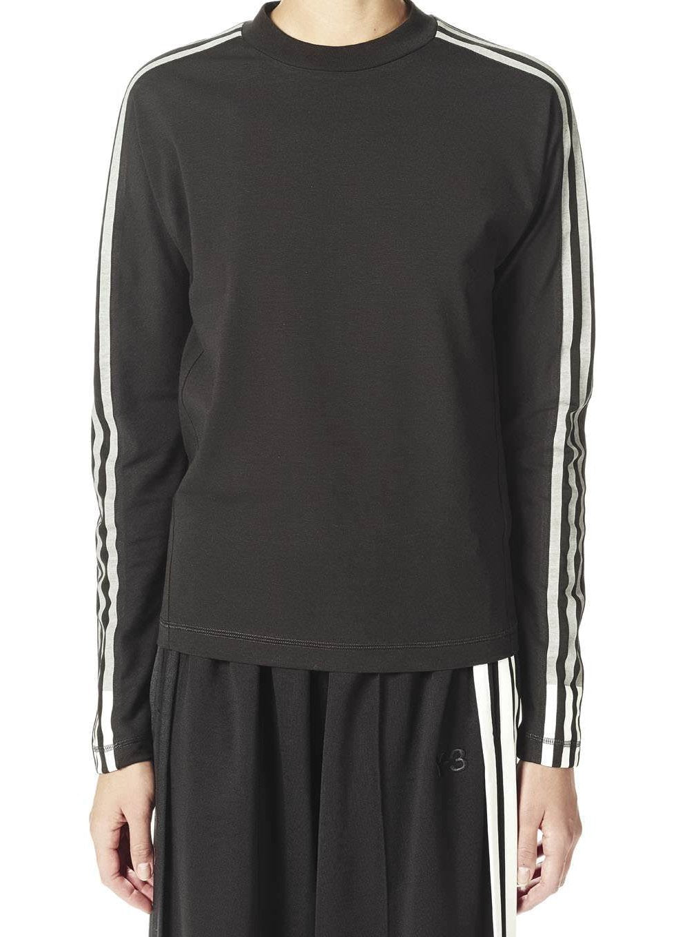 Y-3 | 3 Stripe Long Sleeve Tee Shirt in Black