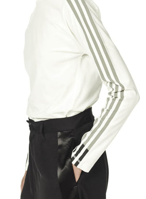 Y-3 | 3 Stripe Long Sleeve Tee Shirt in White
