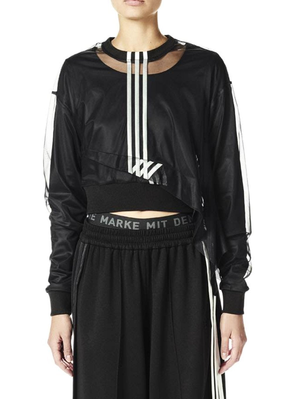 Y-3 | 3 Stripe Long Sleeve Asymmetrical Mesh Tee