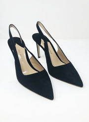 PAUL ANDREW | 'Coquette' Suede Slingback Pumps in Black