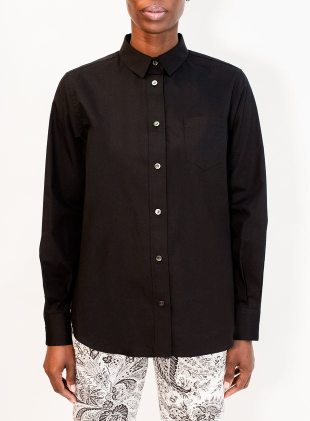 SACAI | Black Cotton Poplin Shirt