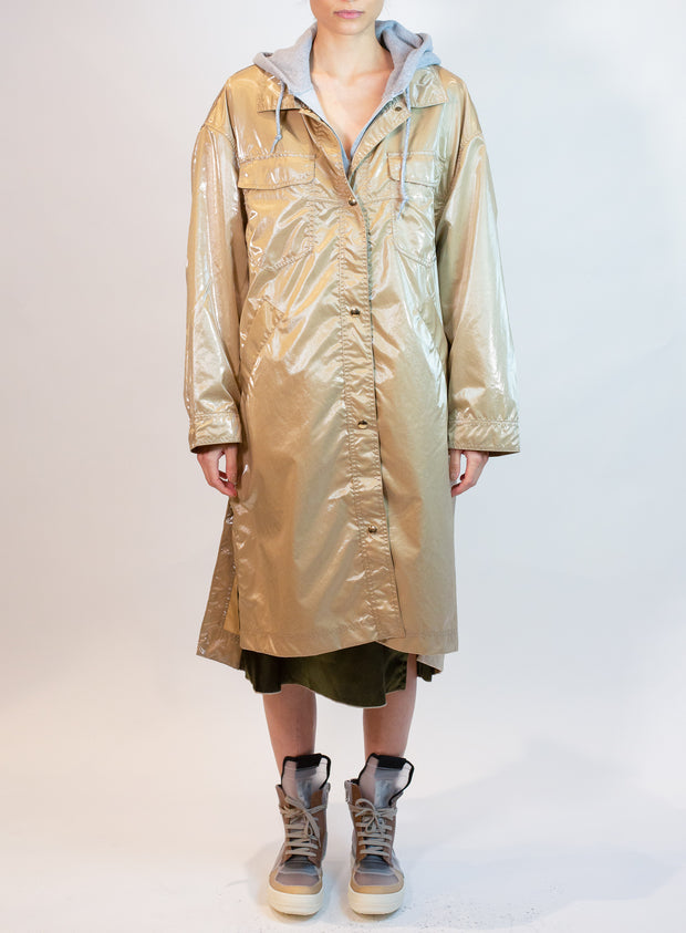 OOF | Shiny Long Shirt Jacket in Beige