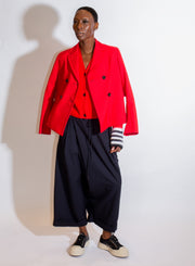 MARNI | Cropped Double Breasted Jacket in Crimson
