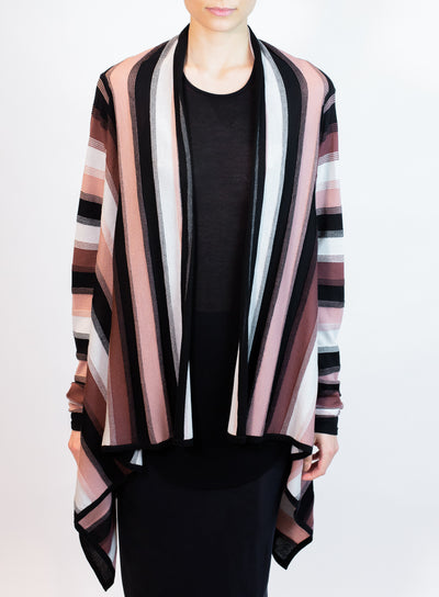 RICK OWENS | Medium Striped Wrap Cardigan in Black and Pink