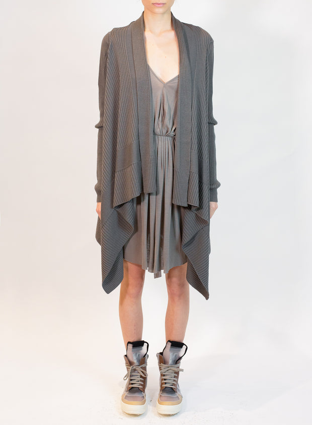 RICK OWENS | Open Ribbed Knit Cardigan in Dust