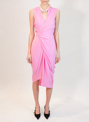 RICK OWENS | Wrap Minidress in Pop Pink
