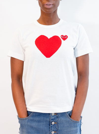 COMME DES GARCONS PLAY | MENS White T-Shirt with Heart Front & Back