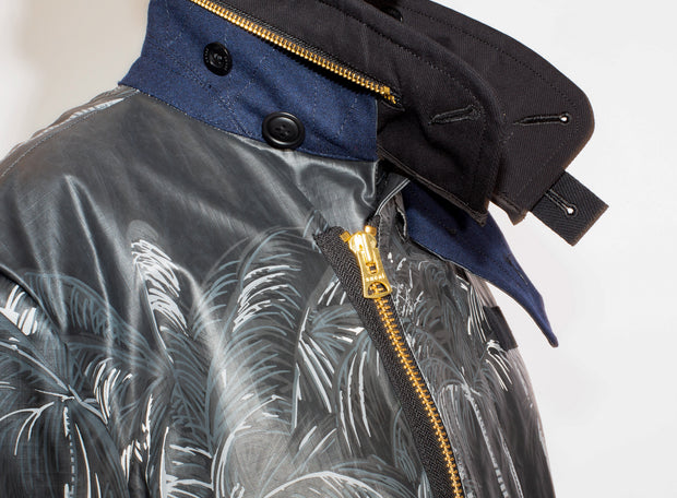 SACAI | Palm Print Black Sun Surf Edition Diamond Head Coat
