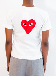 COMME DES GARCONS PLAY | WOMENS White T-Shirt with Heart Front & Back