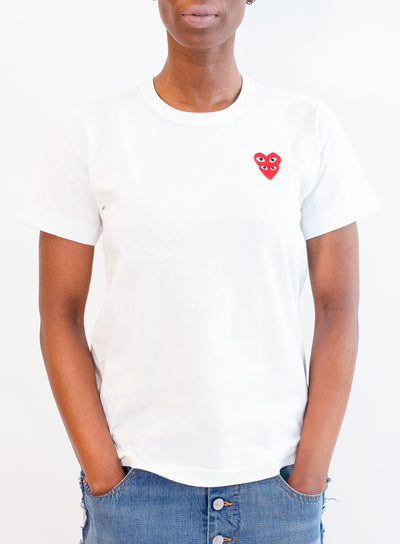 COMME DES GARCONS PLAY | WOMENS White T-Shirt with Double Red Heart