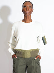 SACAI | Off-White Sweater With Detachable Knit Collar