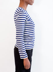 COMME DES GARCONS PLAY | MENS Navy Stripe T-Shirt with Single Red Heart