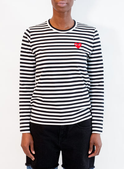 COMME DES GARCONS PLAY | WOMENS Black Stripe T-Shirt with Single Red Heart