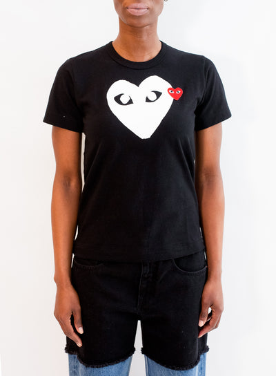 COMME DES GARCONS PLAY | WOMENS Black T-Shirt with White Heart & Small Red Heart