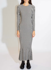 NORMA KAMALI | Fishtail Dress in Check