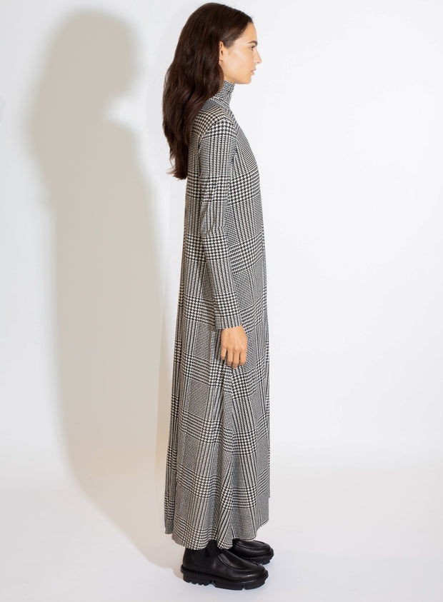 NORMA KAMALI | Turtleneck Swing Dress in Glenn Plaid