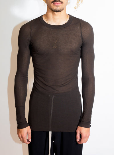 RICK OWENS | Long Sleeve Rib Tee in Dark Dust