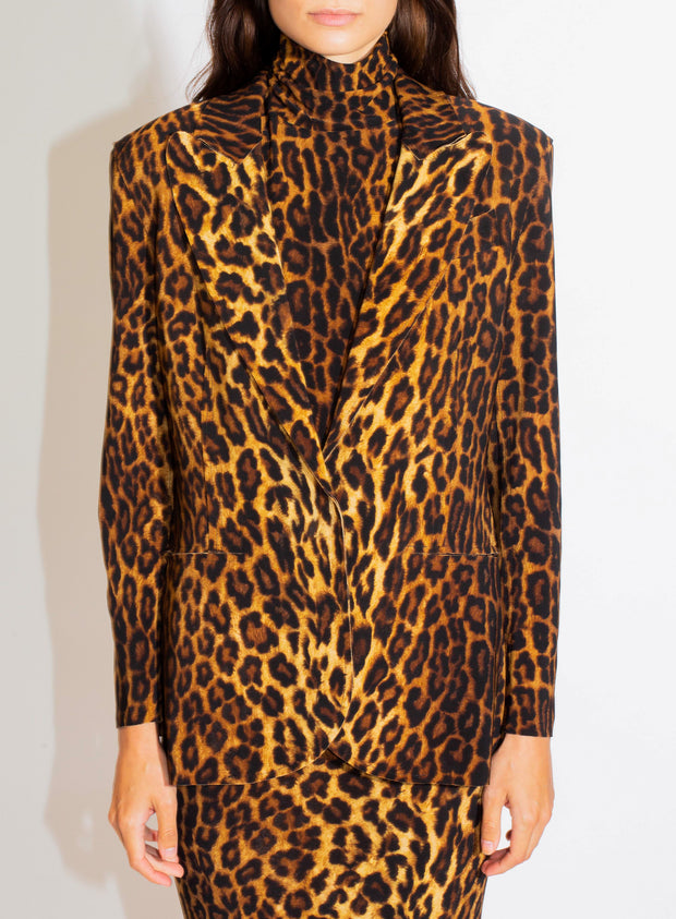 NORMA KAMALI | Single Breasted Blazer in Leopard