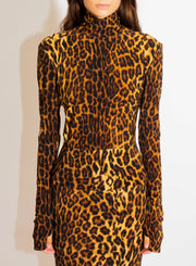 NORMA KAMALI | Slim Turtleneck Top in Leopard