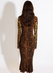 NORMA KAMALI | Turtle Fishtail Dress in Leopard