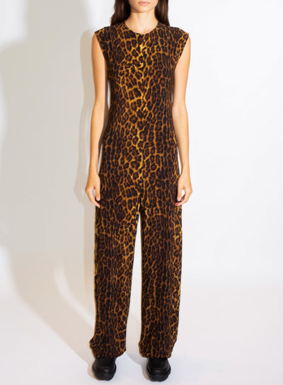NORMA KAMALI | Sleeveless Jumpsuit in Leopard