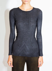 AVANT TOI | Laminated Pullover with Studs in Nero
