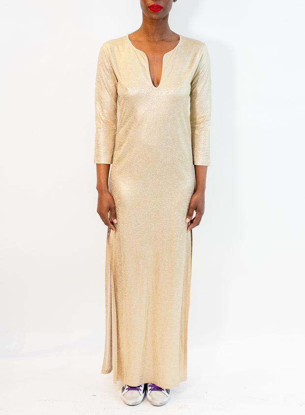 MAJESTIC | Metallic Maxi Dress in Golden Sand