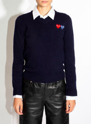COMME DES GARÇONS PLAY | Double Heart Navy Pullover