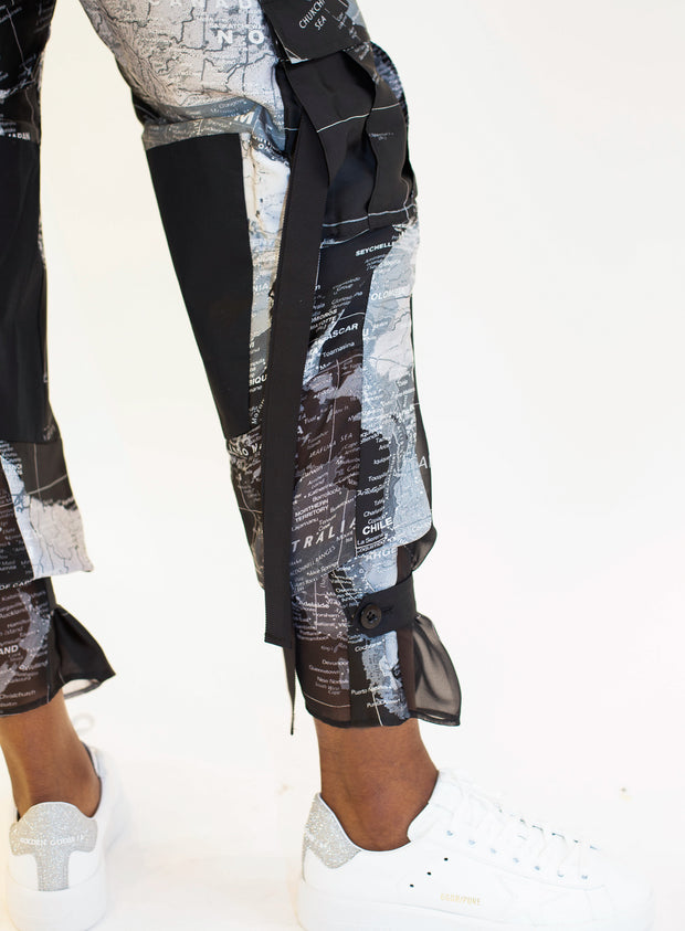 SACAI | World Map Organza-Panel Satin Cargo Trousers