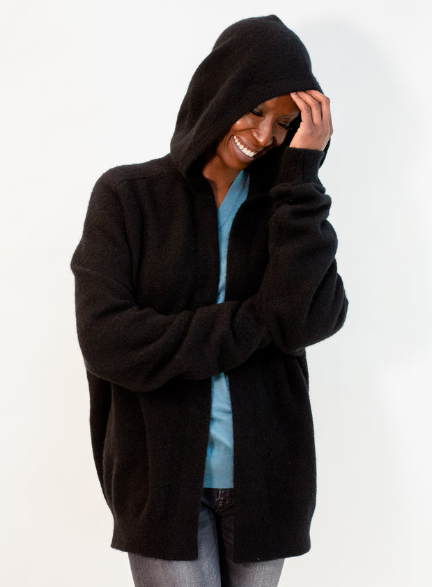 FRENCKENBERGER | Hooded Bomber Felted Cashmere Cardigan