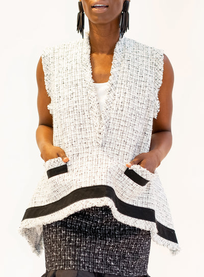 SACAI | Tweed Asymmetric Vest