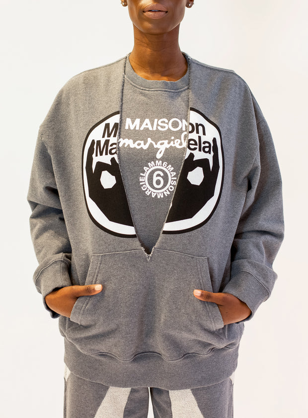 MM6 MAISON MARGIELA | Split Logo Double Layer Sweatshirt