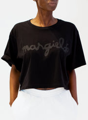 MM6 MAISON MARGIELA | Cropped Logo T-Shirt in Black