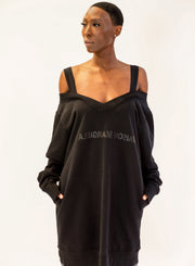 MM6 MAISON MARGIELA | Cold-Shoulder Logo Sweatshirt Dress