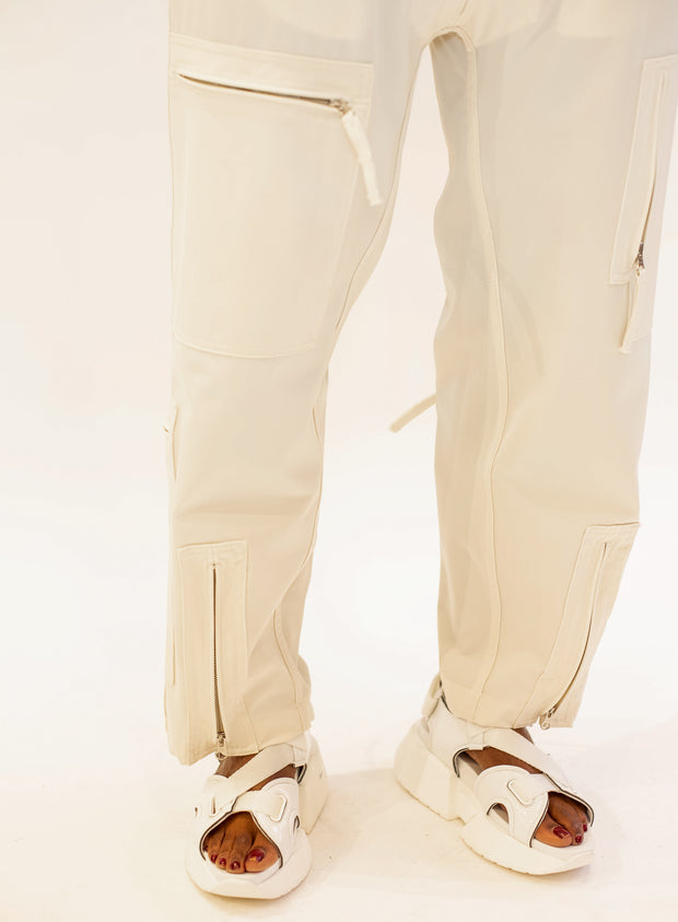 MM6 MAISON MARGIELA | Ivory Zipper Cargo Pocket Trousers